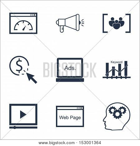 Set Of Seo Icons On Keyword Optimisation, Brain Process And Video Player Topics. Editable Vector Ill