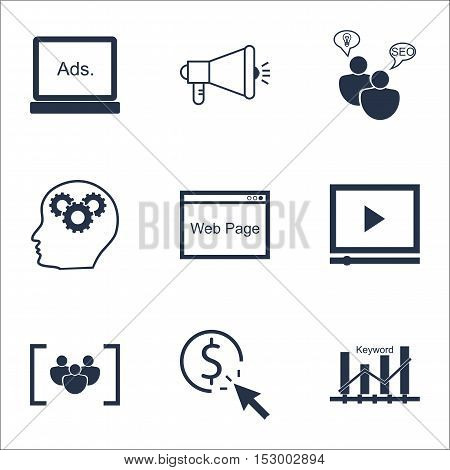 Set Of Marketing Icons On Seo Brainstorm, Questionnaire And Ppc Topics. Editable Vector Illustration