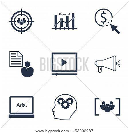 Set Of Marketing Icons On Digital Media, Questionnaire And Keyword Optimisation Topics. Editable Vec