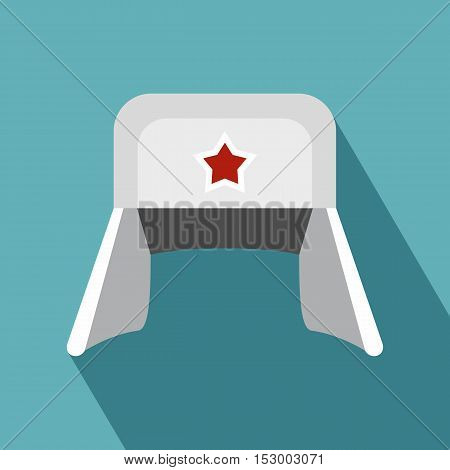 Earflaps Russian hat icon. Flat illustration of hat vector icon for web design