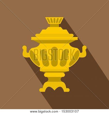 Russian tea samovar icon. Flat illustration of russian samovar vector icon for web