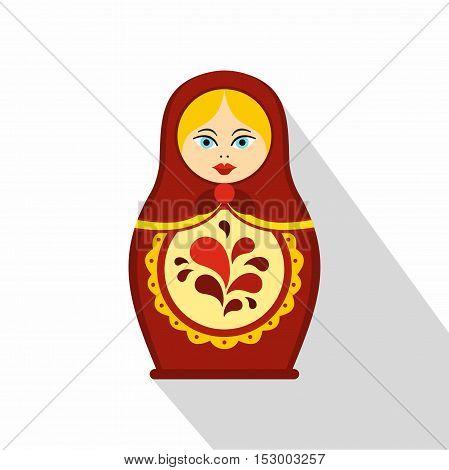 Russian tradition matryoshka doll icon. Flat illustration of matryoshka vector icon for web design