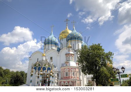 Cathedral of the Assumption of the Blessed Virgin Mary. Holy Trinity St. Sergius Lavra. Sergiev Posad, Russia.