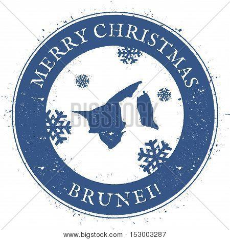 Brunei Darussalam Map. Vintage Merry Christmas Brunei Darussalam Stamp. Stylised Rubber Stamp With C