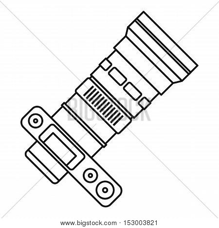 Camera with zoom lens icon. Outline illustration of camera with zoom lens vector icon for web