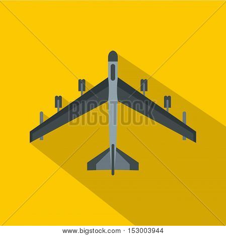 Armed fighter jet icon. Flat illustration of armed fighter jet vector icon for web isolated on yellow background