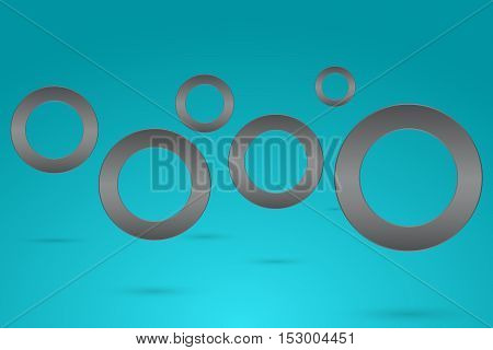 Abstract background wallpaper with rounded steel flying objects with drop shadow. Levitating dark gray circles in space with shadow on blue gradient backdrop.