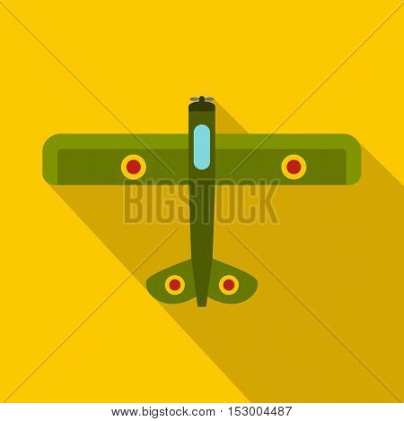 Military fighter plane icon. Flat illustration of fighter plane vector icon for web isolated on yellow background