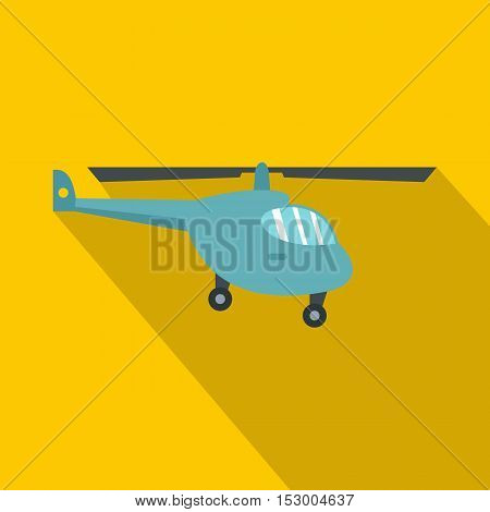Helicopter icon. Flat illustration of helicopter vector icon for web isolated on yellow background