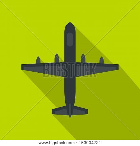 Military plane icon. Flat illustration of plane vector icon for web isolated on lime background