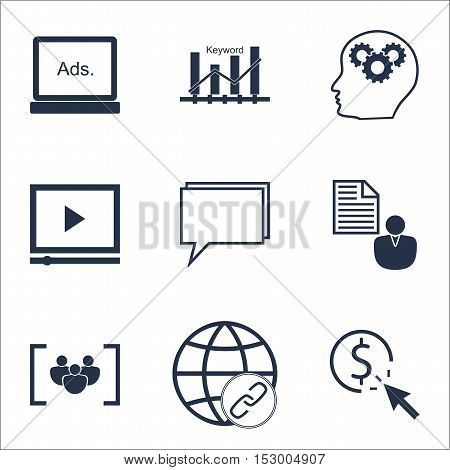 Set Of Advertising Icons On Brain Process, Video Player And Conference Topics. Editable Vector Illus