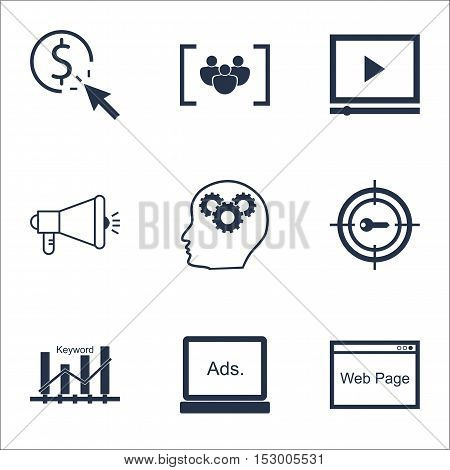 Set Of Seo Icons On Ppc, Brain Process And Website Topics. Editable Vector Illustration. Includes Ke