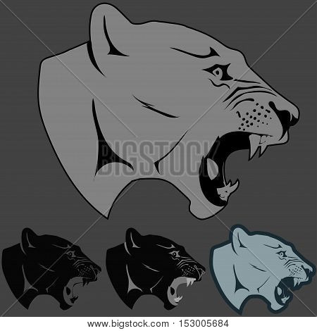 Panther Portrait. Angry wild big cat head. Cute face of Black Cat. Aggressive puma with bared teeth in cartoon style, cat tattoo, t-shirt print design