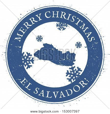 El Salvador Map. Vintage Merry Christmas El Salvador Stamp. Stylised Rubber Stamp With County Map An