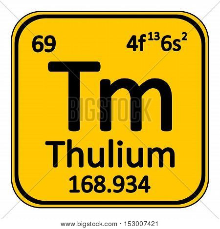 Periodic table element thulium icon on white background. Vector illustration.