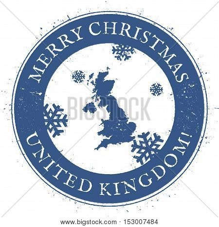 United Kingdom Map. Vintage Merry Christmas United Kingdom Stamp. Stylised Rubber Stamp With County