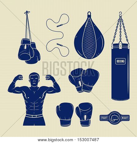 Boxing and martial arts logo badges labels and design elements in vintage style. Vector illustration. Graphic Art.