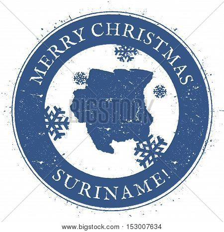 Suriname Map. Vintage Merry Christmas Suriname Stamp. Stylised Rubber Stamp With County Map And Merr