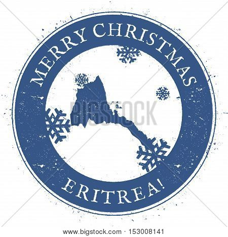 Eritrea Map. Vintage Merry Christmas Eritrea Stamp. Stylised Rubber Stamp With County Map And Merry