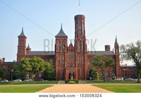 WASHINGTON DC - AUG. 9, 2010: The front Victorian facade of the Smithsonian Castle in Washington, District of Columbia, USA.