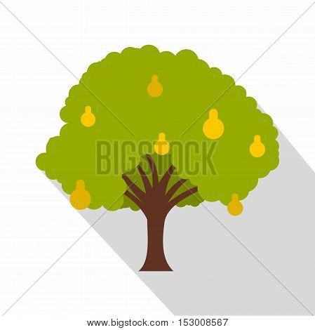 Pear tree with yellow pears icon. Flat illustration of pear tree with yellow pears vector icon for web