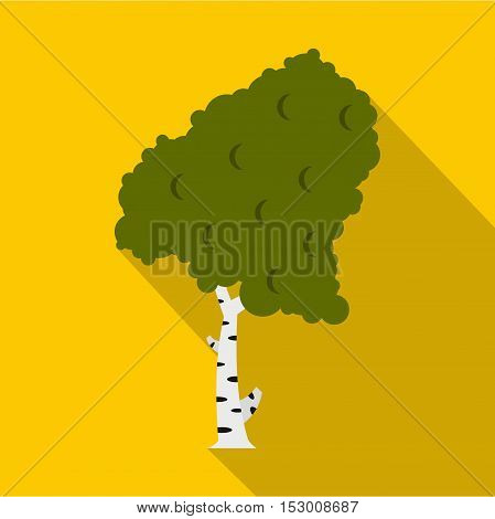 Green birch icon. Flat illustration of birch vector icon for web isolated on yellow background