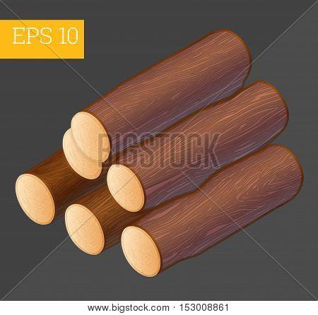 Firewood Isometric Vector Illustration