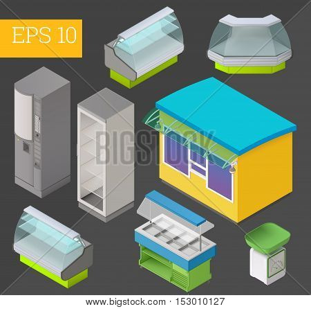commercial equipment collection with counter, showcase, coffee machine, scales, refrigerator, awning and stall eps10 vector illustration