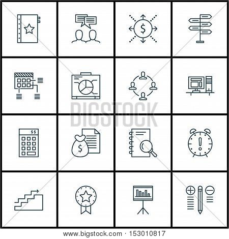 Set Of Project Management Icons On Opportunity, Schedule And Growth Topics. Editable Vector Illustra
