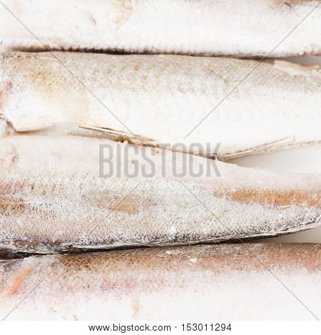 frozen hake fish on a white background closeup