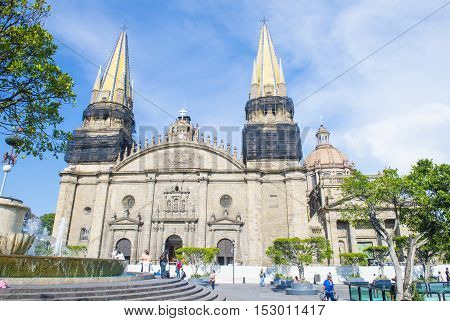 GUADALAJARA MEXICO - AUG 29 : The Guadalajara Cathedral in Guadalajara Mexico. on August 29 2016. The cathedral was built in 1541