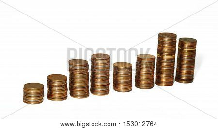 Piles of coins of different height russian coins
