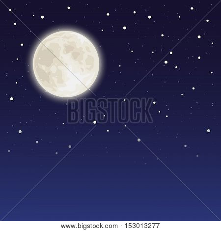 Vector background with full moon and stars in a night sky.
