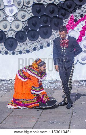 GUADALAJARA MEXICO - AUG 28 : Dancers Participate at the 23rd International Mariachi & Charros festival in Guadalajara Mexico on August 28 2016.