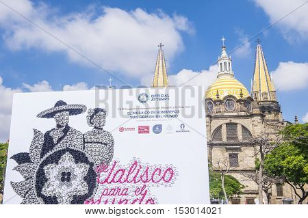 GUADALAJARA MEXICO - AUG 26 : Mosaic made with Mexican traditional hats in Guadalajara Mexico on August 26 2016. It's Guinness record for the world's largest mosaic made with hats
