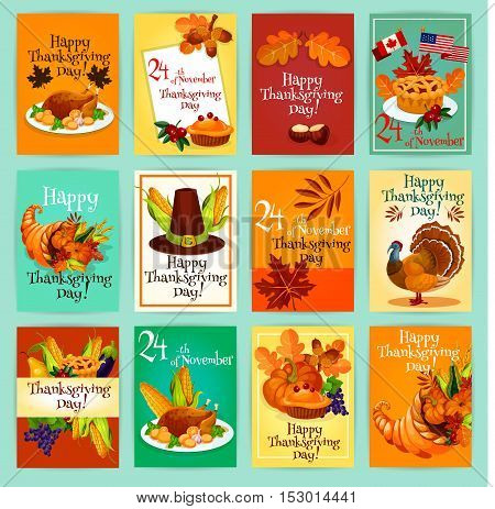 Thanksgiving holiday greeting cards, tags, posters, banners set with traditional thanksgiving day vector elements of turkey, pie, canada and america flags, pumpkin, autumn harvest cornucopia plenty horn, maple and oak leaves