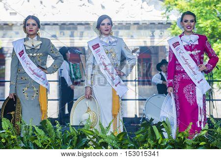 GUADALAJARA MEXICO - AUG 28 : The ambasadors of the 23rd International Mariachi & Charros festival in Guadalajara Mexico on August 28 2016.