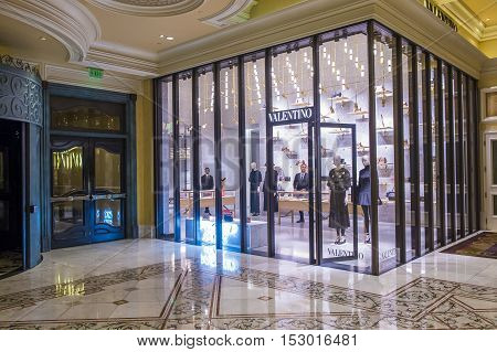 LAS VEGAS - OCT 05 : Exterior of a Valentino store in Las Vegas strip on October 05 2016. Valentino is an Italian luxury fashion house founded in 1960 by Valentino Garavani.