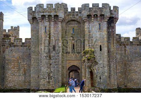 BODIAM, UK - 1 MAY, 2016:  Bodiam Castle 14th-century moated fortification.  England