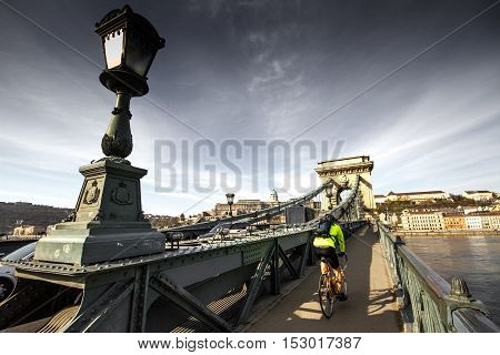 Budapest, capital of Hungary, details of the Chain Bridge in the background Hotel Gresham