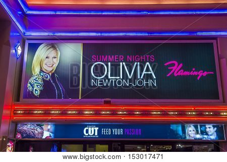 LAS VEGAS - OCT 05 : The Olivia Newton-John show poster at the Flamingo hotel on Oct 05 2016 in Las Vegas. The show began on April 2014
