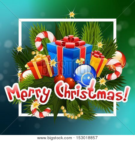 Christmas Greeting Card. Merry Christmas Lettering. Christmas Tree branch with Presents and Christmas decorations