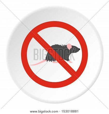 Prohibition sign mouse icon. Flat illustration of prohibition sign mouse vector icon for web