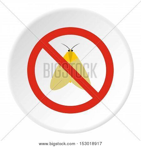 Prohibition sign moth icon. Flat illustration of prohibition sign moth vector icon for web