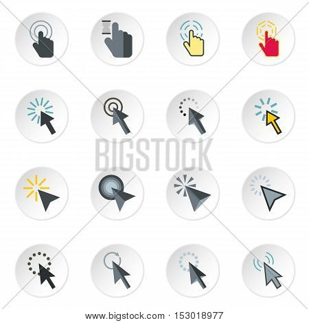 Mouse cursor icons set. Flat illustration of 16 mouse cursor vector icons for web