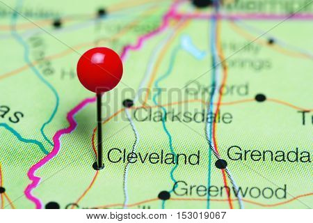 Cleveland pinned on a map of Mississippi, USA