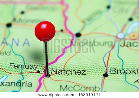 Natchez pinned on a map of Mississippi, USA