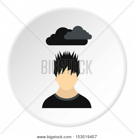 Male avatar and clouds over head icon. Flat illustration of male avatar and clouds over head vector icon for web