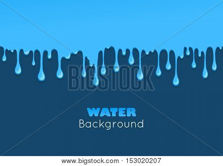 Background of dribble water. Flow of liquid. Blue glossy paint drips and flowing. Vector cartoon illustration. Abstract creative graphic element for your design