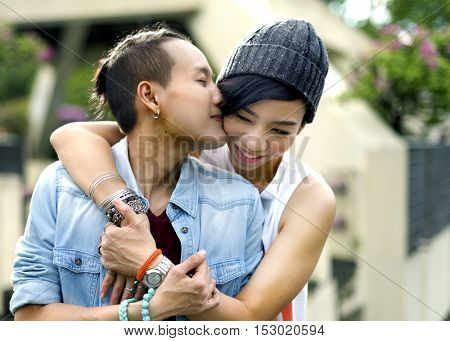 LGBT Lesbian Couple Moments Happiness Concept poster